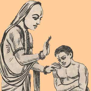 Shri Sripadaraja is blessed by his guru